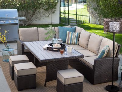 What happens to outdoor wicker furniture when it gets wet?